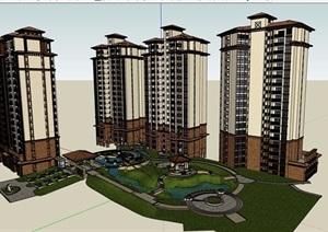 欧式风格详细的住宅小高层建筑楼设计SU(草图大师)模型
