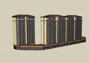 欧式风格详细的完整商业住宅楼设计SU(草图大师)模型