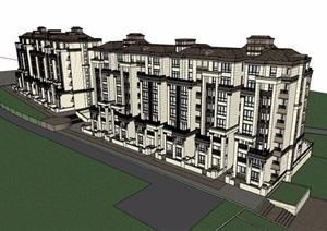 欧式风格详细的完整商住楼设计SU(草图大师)模型