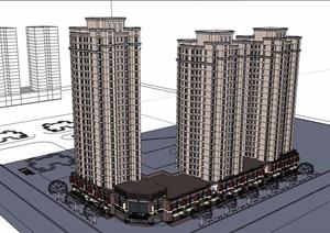 某新古典风格详细的完整商业住宅楼建筑设计SU(草图大师)模型