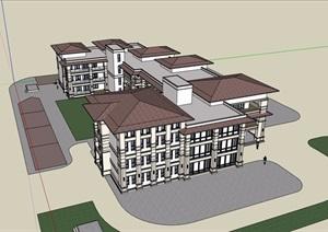 欧式风格详细的多层会所完整建筑设计SU(草图大师)模型