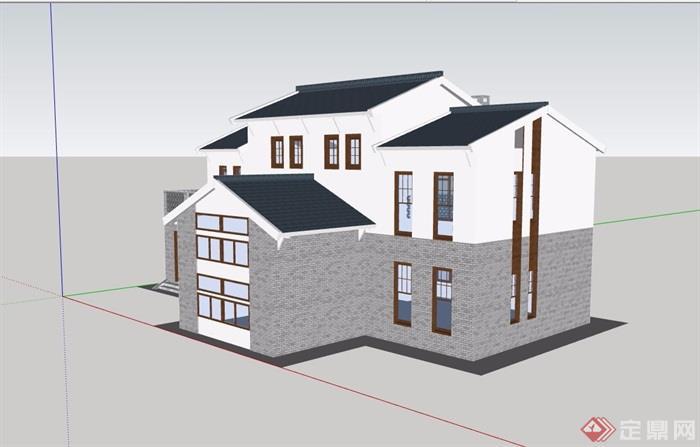 现代中式风格详细的住宅别墅设计su模型