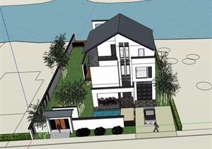 现代中式风格详细的私人住宅别墅设计su模型