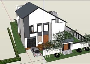 徽派中式風格詳細的完整多層別墅設計su模型