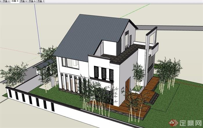 徽派中式风格详细的完整多层别墅设计su模型