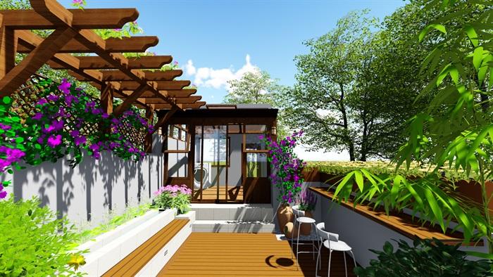 露台花园景观设计su模型2(1)