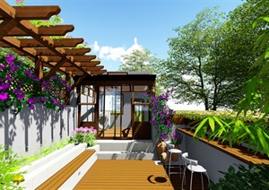 露臺花園景觀設計su模型2