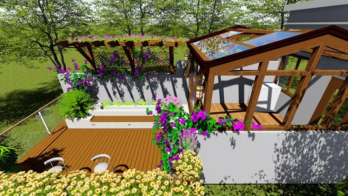 露台花园景观设计su模型2(3)