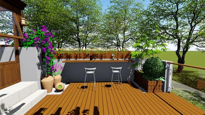 露台花园景观设计su模型2(8)