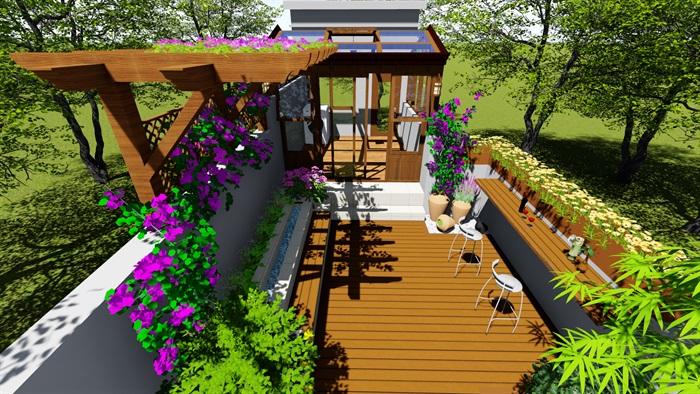 露台花园景观设计su模型2(9)