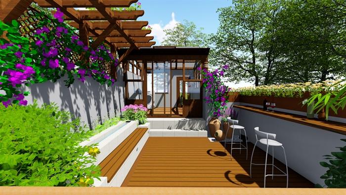 露台花园景观设计su模型2(10)