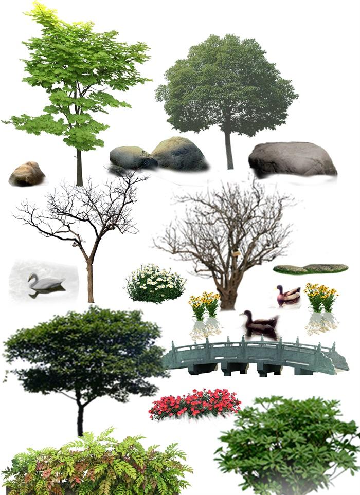 各类园林景观后期制作素材ps(1)