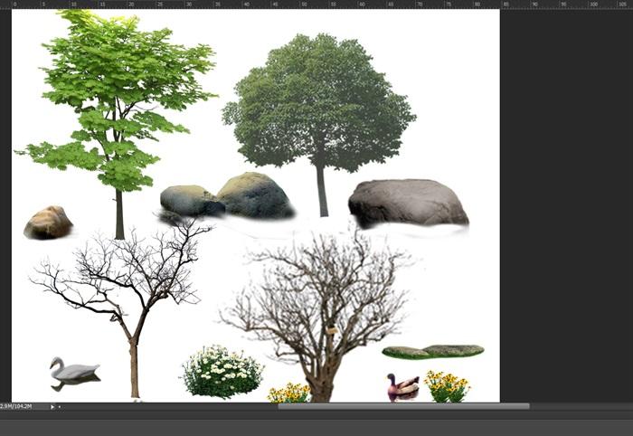 各类园林景观后期制作素材ps(2)