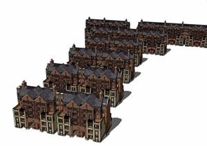 住宅欧式小区别墅建筑设计SU(草图大师)模型