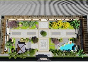 中式四合院庭院花园景观设计su模型