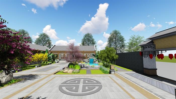 中式四合院庭院花园景观设计su模型(3)