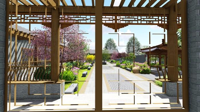 中式四合院庭院花园景观设计su模型(10)
