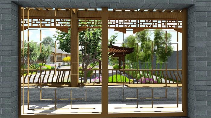 中式四合院庭院花园景观设计su模型(11)