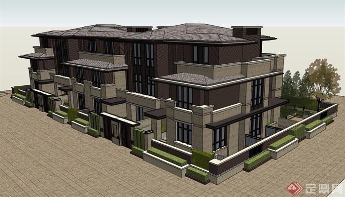 联排别墅详细完整建筑设计su模型