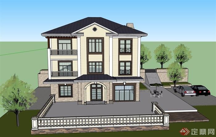三层详细的欧式风格别墅设计su模型