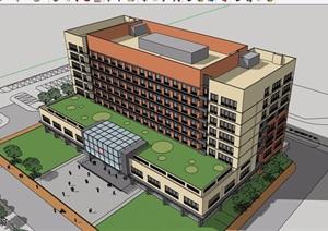 现代医院多层详细的建筑楼设计SU(草图大师)模型