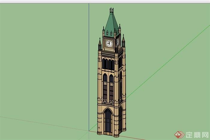 欧式风格详细的完整钟塔素材设计su模型