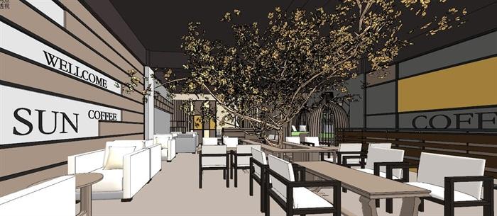 现代轻奢简约休闲风两层咖啡馆咖啡厅休闲室(1)