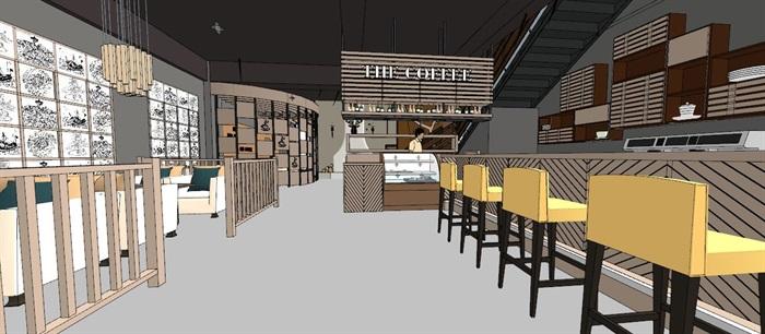 现代轻奢简约休闲风两层咖啡馆咖啡厅休闲室(2)