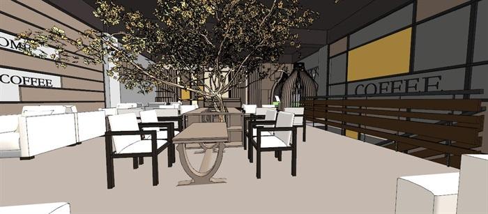 现代轻奢简约休闲风两层咖啡馆咖啡厅休闲室(5)