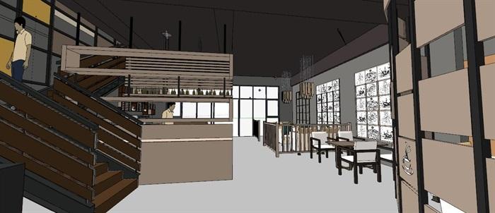 现代轻奢简约休闲风两层咖啡馆咖啡厅休闲室(4)