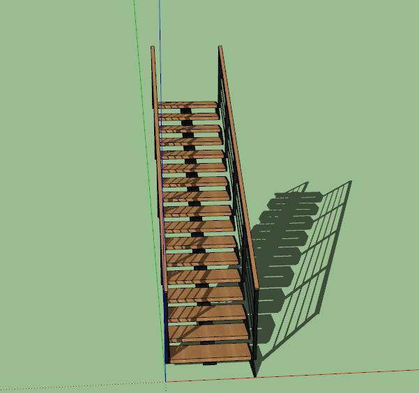 现代创意钢木连续造型楼梯(3)
