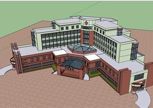 现代风格详细的完整医院建筑楼设计SU(草图大师)模型