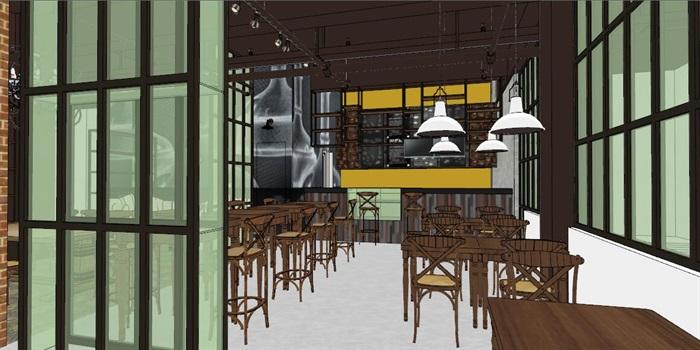 小型欧式咖啡厅室内设计SU模型(1)