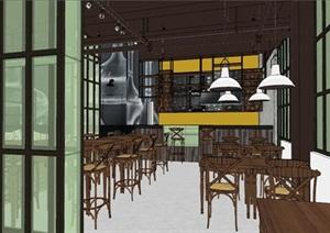 小型欧式咖啡厅室内设计SU(草图大师)模型