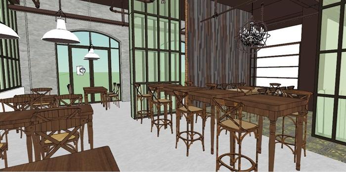 小型欧式咖啡厅室内设计SU模型(3)