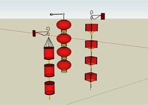 中式红灯笼商业街装饰灯具
