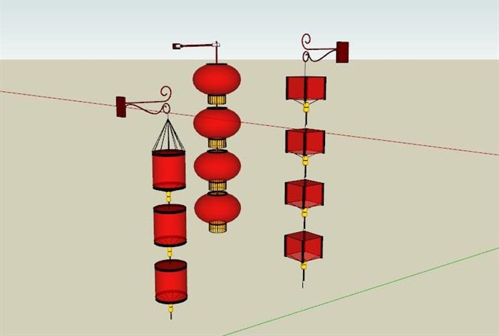 中式红灯笼商业街装饰灯具(1)