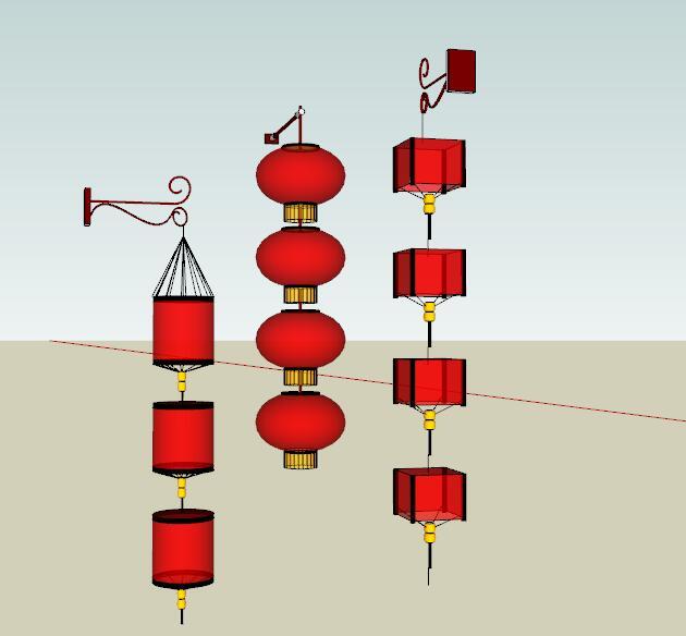 中式红灯笼商业街装饰灯具(2)