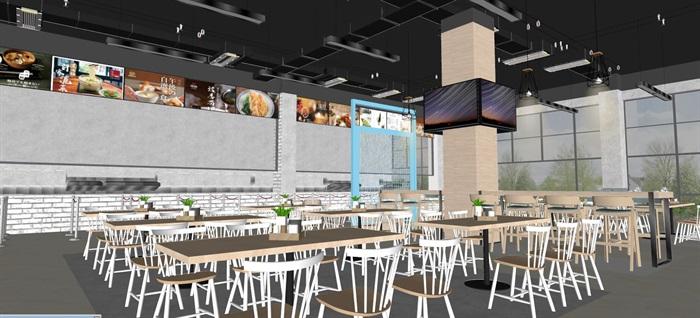 现代员工食堂饭堂学校食堂室内设计(4)