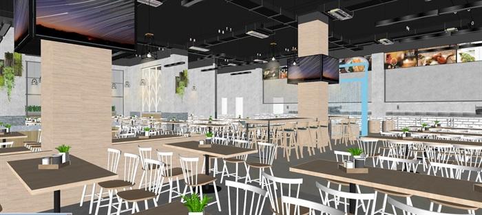 现代员工食堂饭堂学校食堂室内设计(5)