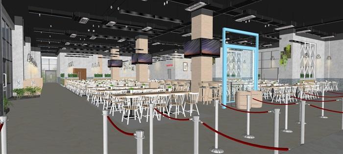 现代员工食堂饭堂学校食堂室内设计(6)