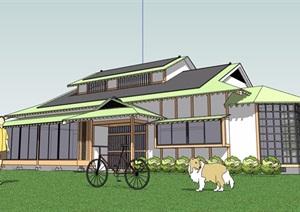 日式风格多层民居住宅楼SU(草图大师)模型