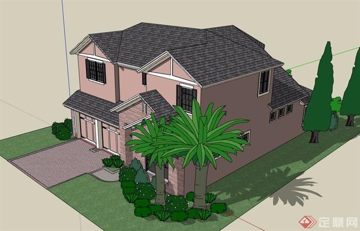 详细的欧式风格私人住宅别墅设计su模型
