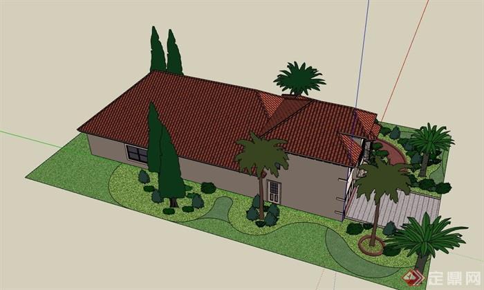 详细的经典完整欧式风格别墅设计su模型
