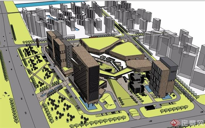 烟台某商业综合体建筑设计su模型