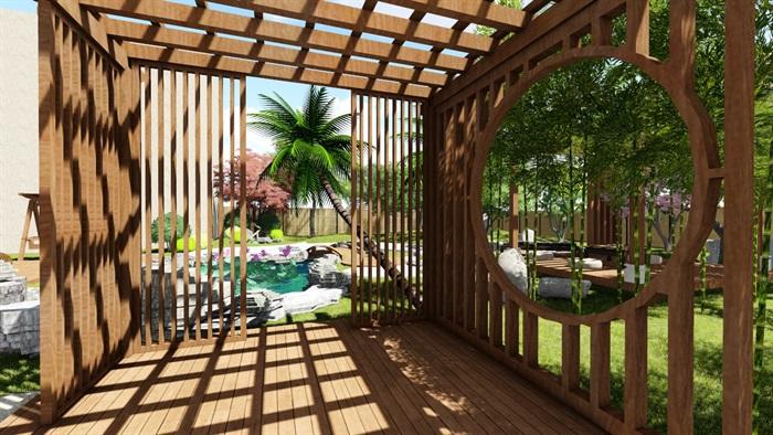 别墅庭院花园景观设计su精品模型(1)