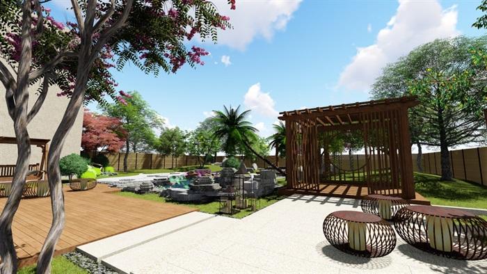 别墅庭院花园景观设计su精品模型(4)