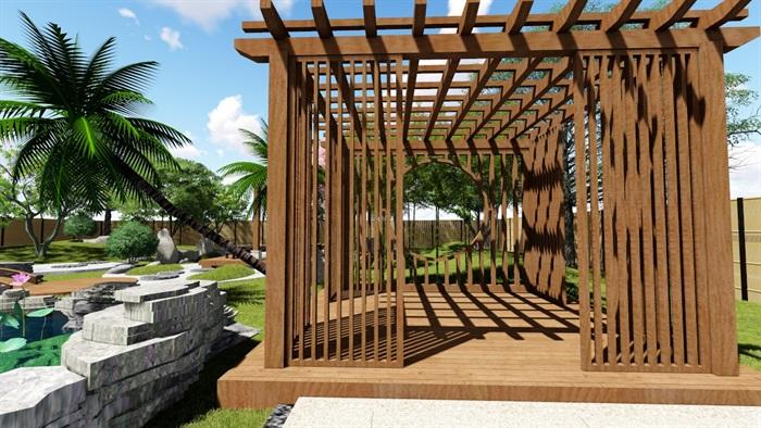别墅庭院花园景观设计su精品模型(5)