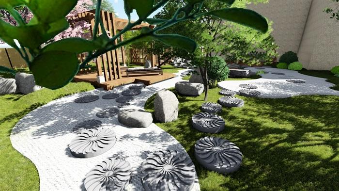 别墅庭院花园景观设计su精品模型(8)