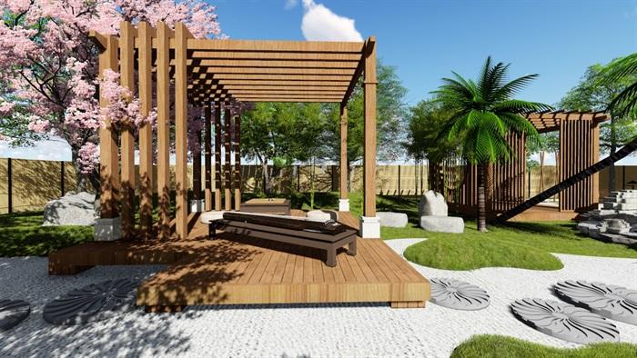 别墅庭院花园景观设计su精品模型(9)